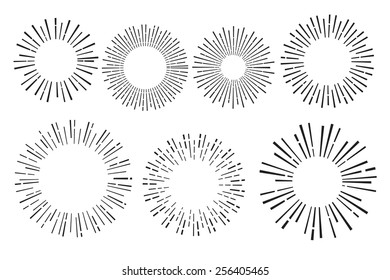 Set of vintage hand drawn sunbursts