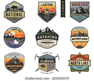 Set of vintage hand drawn travel badges. Camping labels concepts. Mountain expedition logo designs. Hike emblems. camp logotypes collection. Stock vector patches isolated on white background.