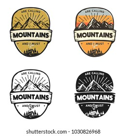 Set of vintage hand drawn travel logos. Mountain labels set. Colorful, monochrome concepts. Stock vector retro patches isolated on white background.