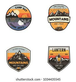 Set of vintage hand drawn travel logos. Hiking labels concepts. Mountain expedition badge designs. Stock vector retro patches isolated on white background.