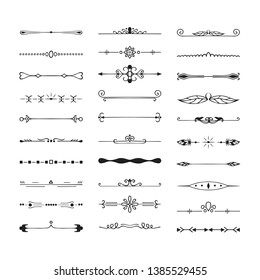 Set of vintage hand drawn vector dividers. Calligraphic lines, borders and laurels. Vector isolated ink elements.