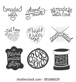 Set of vintage hand made logotypes design elements and labels. Hand made, made with love, cross-stitch Vector illustration