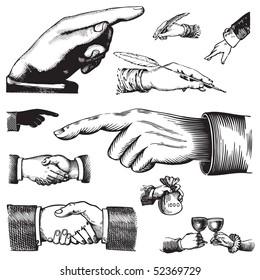 Set of vintage hand pointer patterns, vector illustration. Old engraving elements for your design.
