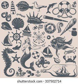 Set of Vintage Hand-drawing Nautical Illustrations and Icons