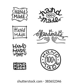 Set of vintage handmade badges, labels and logo elements, retro symbols for local sewing shop, knitwear company, handmade artist. Can be used on handmade soap, chocolate, cookies, scrapbooks, ceramics