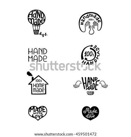 Set of vintage handmade badges, labels and logo elements, retro symbols for local sewing shop, knitwear company. Can be used on homemade soap, chocolate, ...