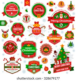 Set Of Vintage Happy New Year and Merry Christmas Badges and Labels. Vector illustration.
