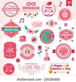 Set Of Vintage Happy Valentine's Day badges and labels - Typographical Background With Ornaments, Hearts, Ribbon and Arrow. I love you typography template.