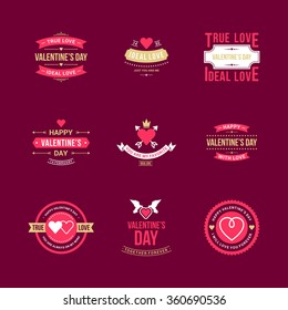 Set Of Vintage Happy Valentine's Day Badges or Labels. Typography Design Elements for Greeting Cards