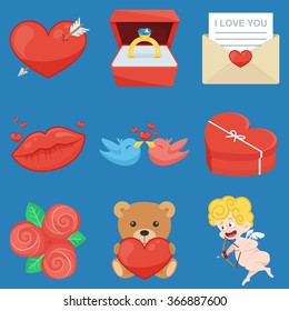 Set Of Vintage Happy Valentine's Day icons