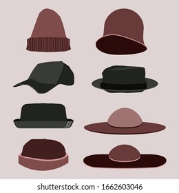 Set vintage hats in art deco 1920s style isolated on pink background.Vector flat simple illustration. Retro 20s.Stylish hipster caps in modern and creative style.Woman and man web media wardrobe items