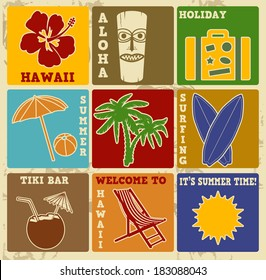 Set of vintage Hawaii labels or posters - Retro signs with grunge effect, illustration vector