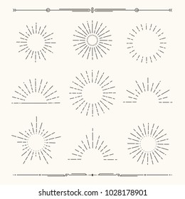 Set of vintage, hipster sunburst shapes. Shine sun ray set.  Sunset icon collection. Trendy hand drawn retro bursting rays design. Hipster banner elements.  Radiant sun flashes. Vector illustration.