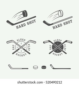 Set of vintage hockey emblems, logos, badges, labels and design elements. Graphic Art. Vector Illustration.