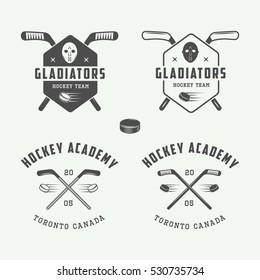 Set of vintage hockey emblems, logos, badges, labels and design elements. Graphic Art. Vector Illustration.