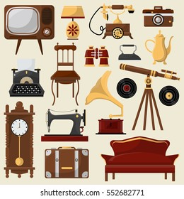 Set of vintage home furniture and accessories. Retro interior: chair, sofa, lamp and clock. Antique collection. Vector illustrations isolated on beige background. Design element in flat style