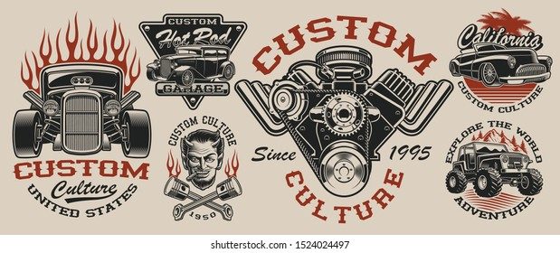 Set of vintage hot rod designs, perfect for logos, posters, apparel and many other. Layered