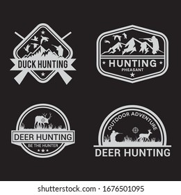 Set of vintage hunting and fishing labels.