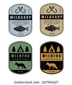 Set of vintage hunting and fishing logo