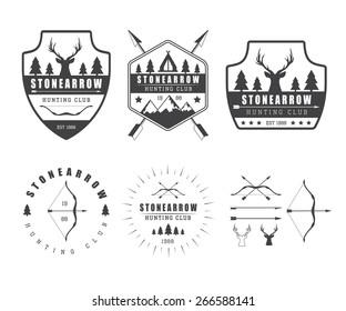 Set of vintage hunting labels, logo, badges and design elements