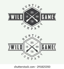 Set of vintage hunting labels, logo, badge and design elements. Vector illustration