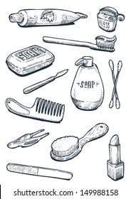 set of vintage hygiene tools