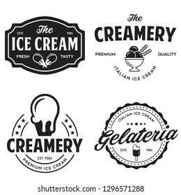 Set of vintage ice cream shop logo badges and labels, gelateria signs. Retro logotypes for cafeteria or bar. Isolated vector illustration.