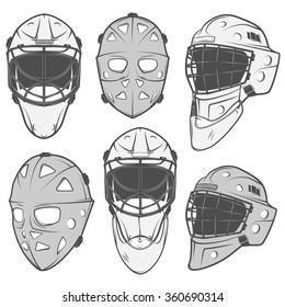 Set of vintage ice hockey goalkeeper helmet design elements for emblems