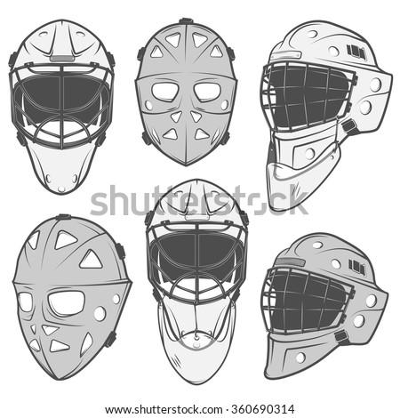 Set Vintage Ice Hockey Goalkeeper Helmet Stock Vektorgrafik