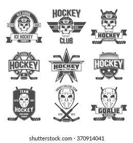 Set of vintage Ice hockey labels and design elements.