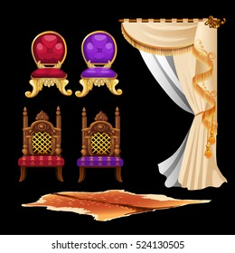Set of vintage interior elements isolated on black background. Chair, curtain, carpet from the skin of a wild animal. Vector illustration.