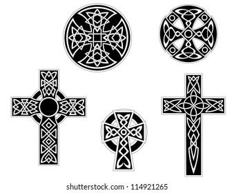 Set of vintage irish celtic crosses logo. Vector illustration