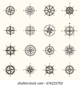 Set of vintage isolated compass or retro wind rose for sea guidance or ocean old navigation device. Boat travel and ship sailing, marine and nautical, sailing and heraldry, history and adventure theme