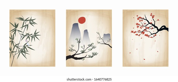 Set of vintage Japanese poster. Hand drawing style. Vector illustration. Card, backdrop, wallpaper.
