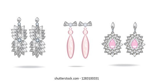 Set of vintage jewelry earrings with rose gemstone. Vector.