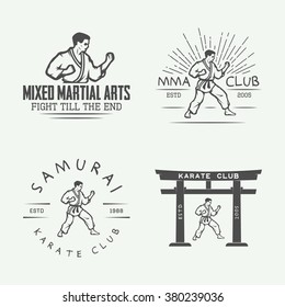 Set of vintage karate or martial arts logo, emblem, badge, label and design elements in retro style. Illustration