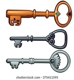 Set of vintage keys isolated on white background. Vector cartoon close-up illustration.