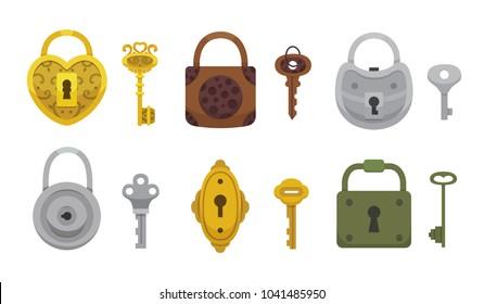 Set of vintage keys and locks. Vector illustration cartoon padlock. Secret, mystery or safe icon.