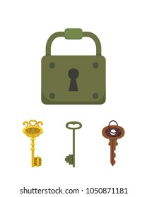 Set of vintage keys and locks. Vector illustration cartoon padlock. Secret, mystery or safe icon.