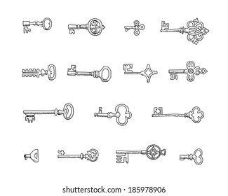 Set of vintage keys in vector.  Doodles. Isolated  on a white background.