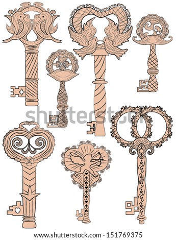 Set Vintage Keys Weddings Decorative Items Stock Vector (Royalty ...