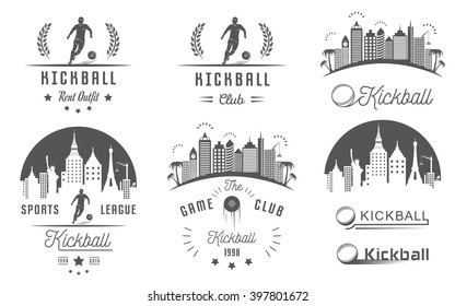Set of vintage kickball labels, logo, sign, badges, icons and outfit. Collection of kickball club emblem and design elements. Kickballl tournament professional logo and sports graphic.