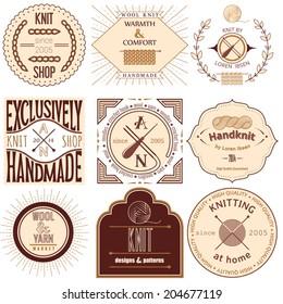 Set of vintage knitting labels, badges and design elements. Vector illustration