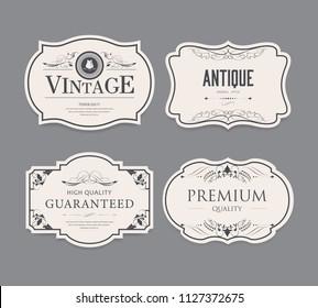 set of vintage label old fashion. antique banner illustration vector.