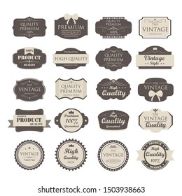 set of vintage label old fashion ; vector illustration
