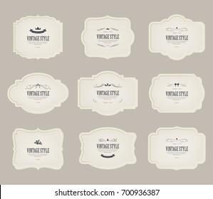 set of vintage label and old fashion classic design. illustration vector.