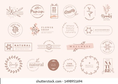 Set of vintage labels and badges for beauty, natural and organic products, cosmetics, spa and wellness, fashion. Vector illustrations for graphic and web design, marketing material, product promotions