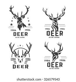 Set of vintage labels, badges logo design elements. Deer head, artistic emblems. Stylized collection wild animal. Vector illustration.