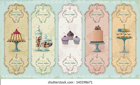 Set of vintage labels with cakes and chocolate sweets