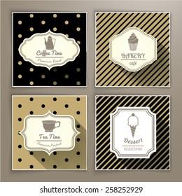 Set of vintage labels coffee bakery tea and dessert
